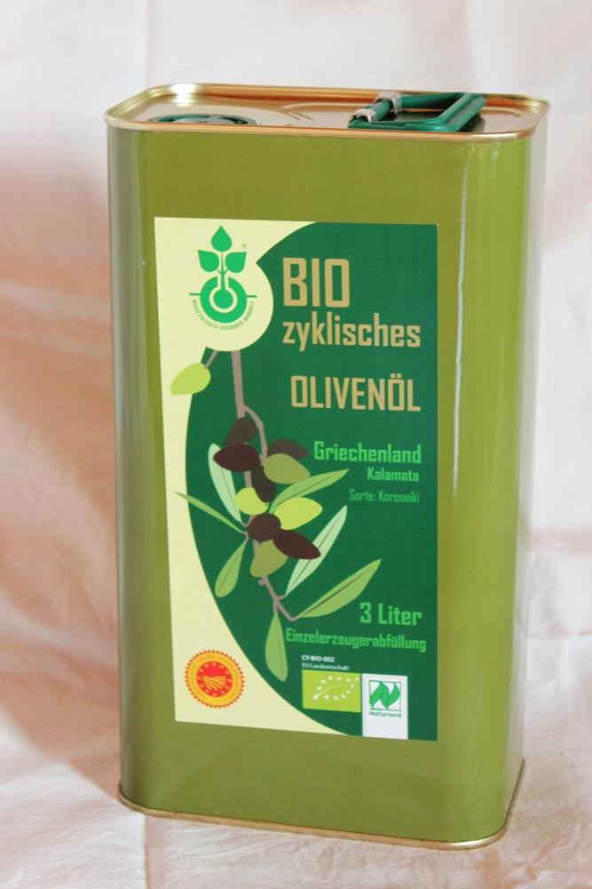 Biovegan aus biozyklisch-veganer Landwirtschaft: Olivenöl 3 Liter Kanister
